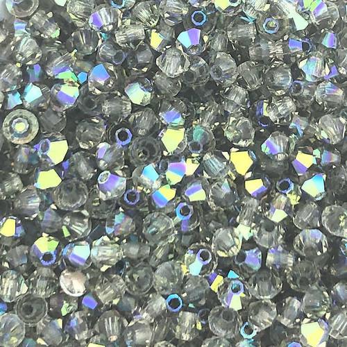 4mm Preciosa Bicones, Black Diamond AB (Qty: 50)