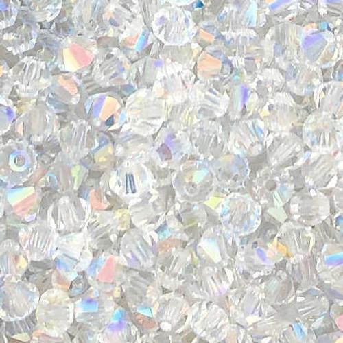 4mm Preciosa Bicones, Crystal AB (Qty: 50)