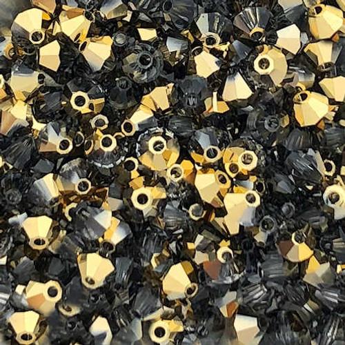 4mm Preciosa Bicones, Crystal Aurum Half (Qty: 50)