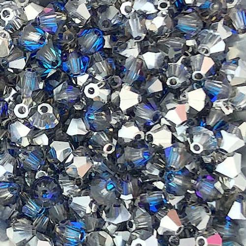 4mm Preciosa Bicones, Crystal Bermuda Blue (Qty: 50)