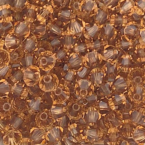 4mm Preciosa Bicones, Light Colorado Topaz (Qty: 50)