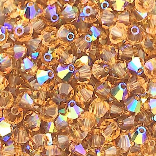 4mm Preciosa Bicones, Light Colorado Topaz AB (Qty: 50)