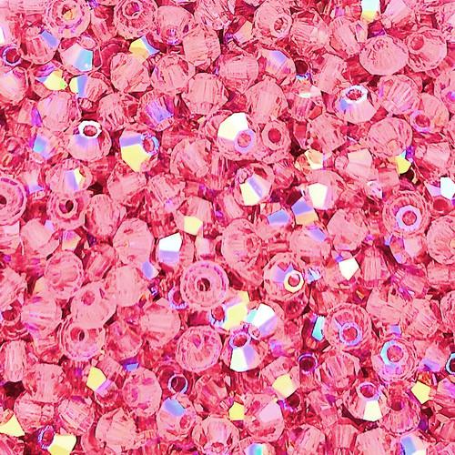 4mm Preciosa Bicones, Rose AB (Qty: 50)