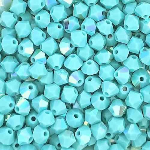 4mm Preciosa Bicones, Turquoise AB (Qty: 50)