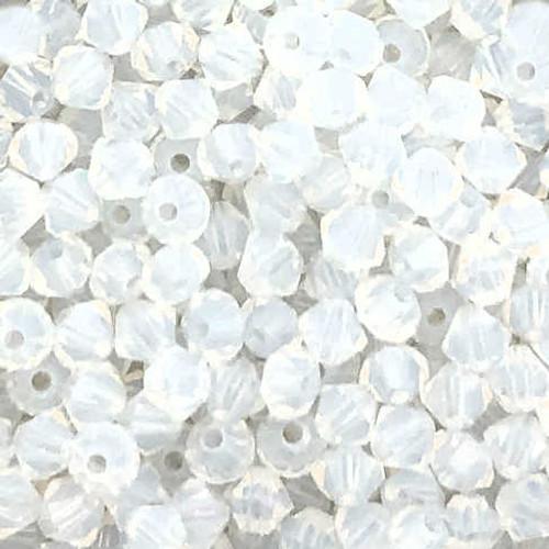 4mm Preciosa Bicones, White Opal (Qty: 50)