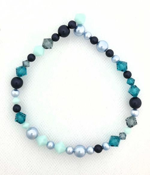 """Swarovski Bicones & Pearls Designer Blend, Dusk Blue (7"""", 36-38 beads)"""