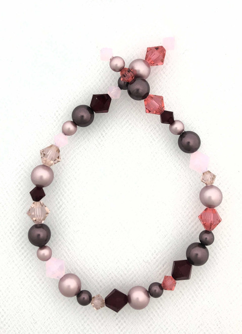 "Swarovski Bicones & Pearls Designer Blend, Strawberry Ice (7"", 36-38 beads)"
