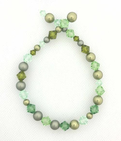 """Swarovski Bicones & Pearls Designer Blend, Opaline Green (7"""", 36-38 beads)"""