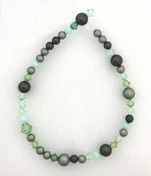 "Swarovski Bicones & Pearls Designer Blend, Slade Green (7"", 36-38 beads)"