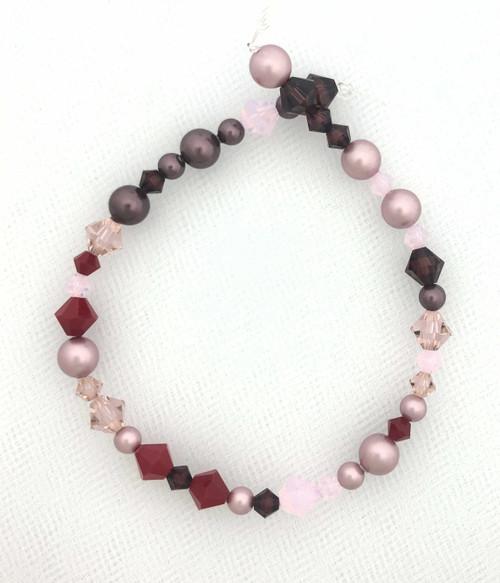 "Swarovski Bicones & Pearls Designer Blend, Rose Wine (7"", 36-38 beads)"