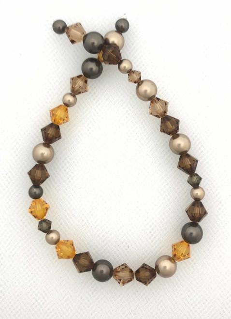 "Swarovski Bicones & Pearls Designer Blend, Coffee Cream (7"", 36-38 beads)"