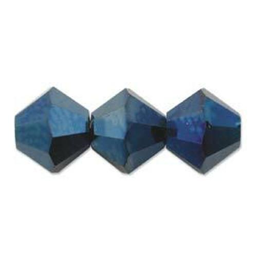 4mm Swarovski Bicones, Crystal Metallic Blue 2X (Qty: 50)