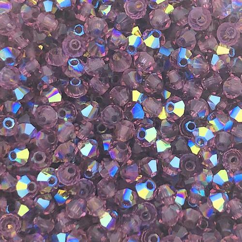 3mm Preciosa Bicones, Amethyst AB (Qty: 50)