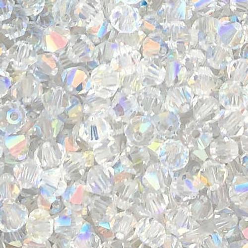3mm Preciosa Bicones, Crystal AB (Qty: 50)