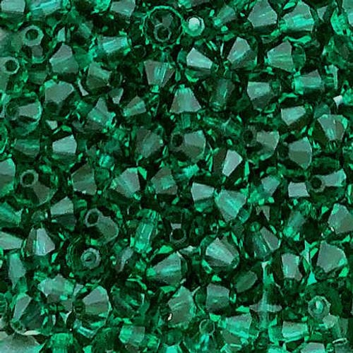 3mm Preciosa Bicones, Emerald (Qty: 50)