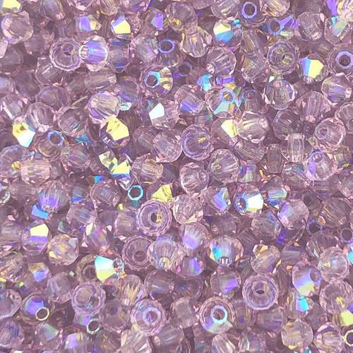 3mm Preciosa Bicones, Light Amethyst AB (Qty: 50)