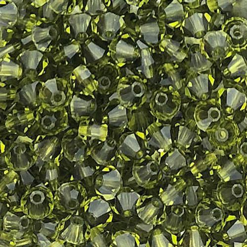 3mm Preciosa Bicones, Olivine (Qty: 50)
