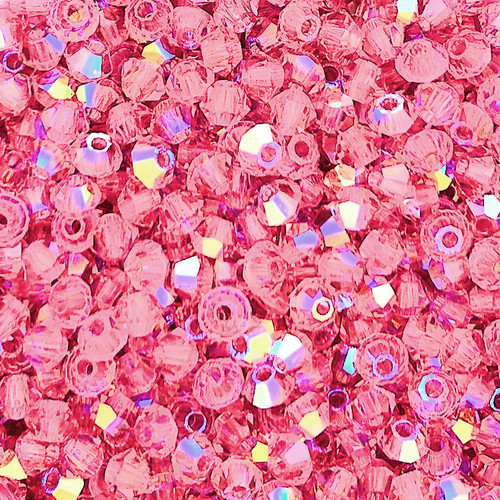 3mm Preciosa Bicones, Rose AB (Qty: 50)