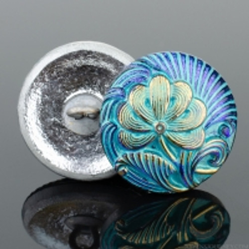 (18mm) Flower, Aqua and Purple Iridescent w/Turquoise Wash and Gold Paint