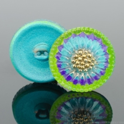 (18mm) Sunflower, Aqua, Purple, and Yellow Green with Gold