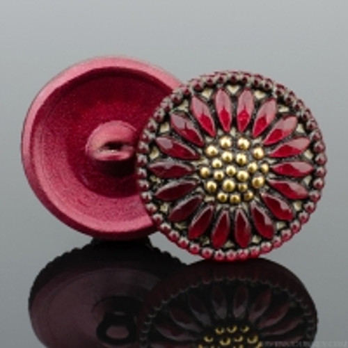 (18mm) Sunflower, Antiqued Red with Gold Paint