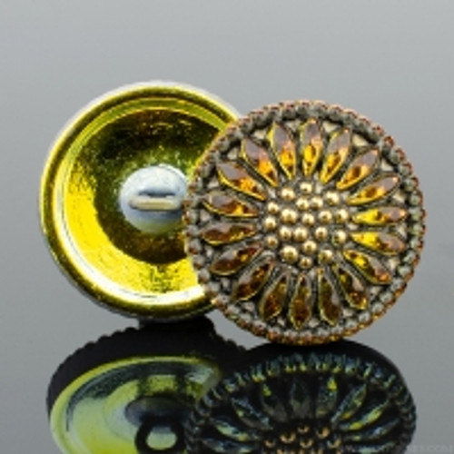 (18mm) Sunflower, Golden Orange Antiqued with Gold Paint