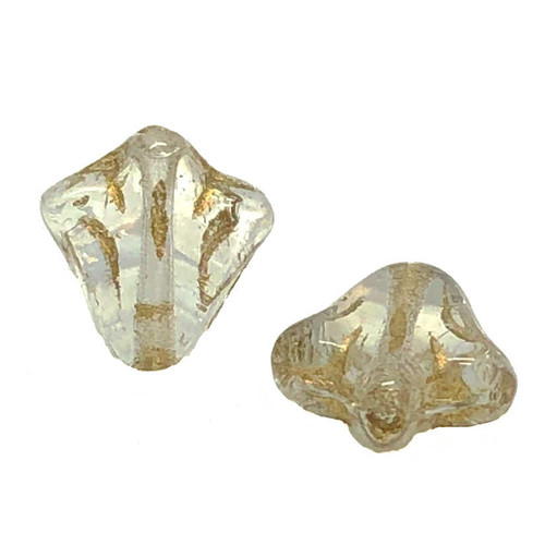9mm Czech Glass Lily Beads, Crystal Gold Wash (Qty: 12)