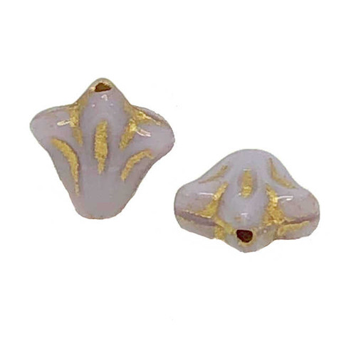 9mm Czech Glass Lily Beads, Lavender with Gold Wash (Qty: 12)