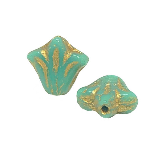 9mm Czech Glass Lily Beads, Green Turquoise with Gold Wash (Qty: 12)