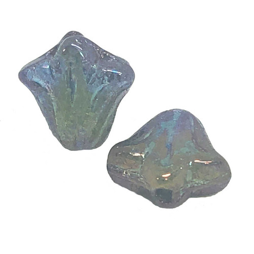9mm Czech Glass Lily Beads, Olivine & Blue Bronze Luster (Qty: 12)