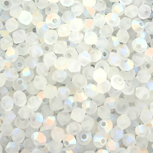 3mm Preciosa Bicones, Crystal Matte AB (Qty: 50)