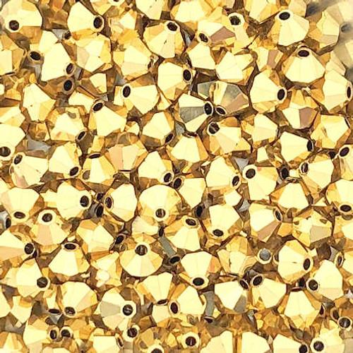 3mm Preciosa Bicones, Crystal Aurum 2X (Qty: 50)