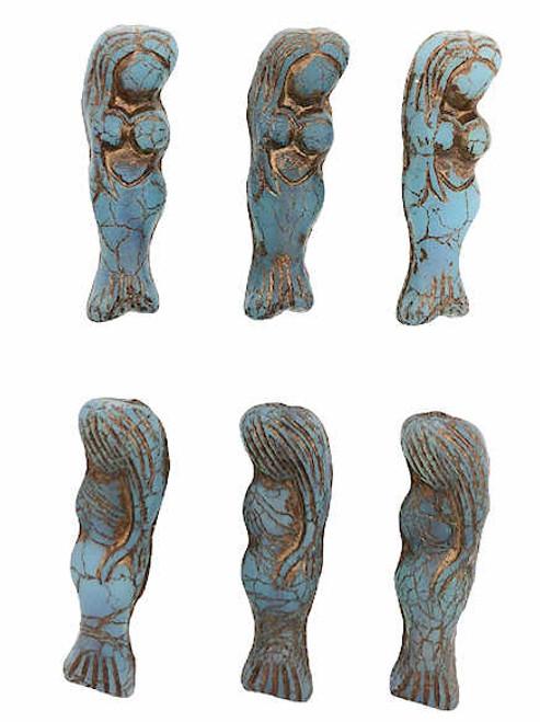 Mermaid Beads, Slate Blue w/ Matte Finish & Brown Wash, 5x25mm (Qty: 6)