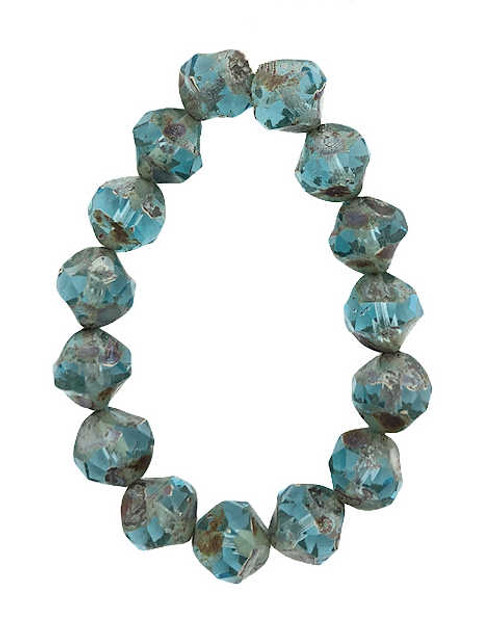 Baroque Bicones, Sky Blue w/ Picasso Finish, 8mm (Qty: 15)