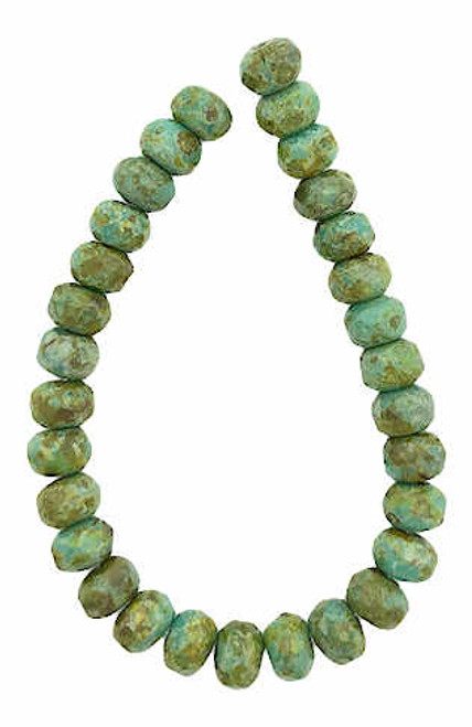 Faceted Rondelles, Sea Green w/ Picasso Finish, 5x3mm (Qty: 30)