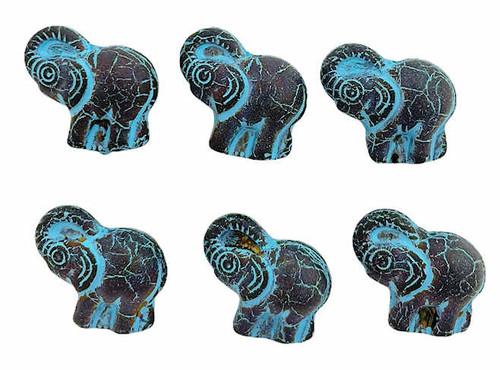 Elephant Beads, Matte Black w/ Turquoise Wash, 20x23mm (Qty: 6)