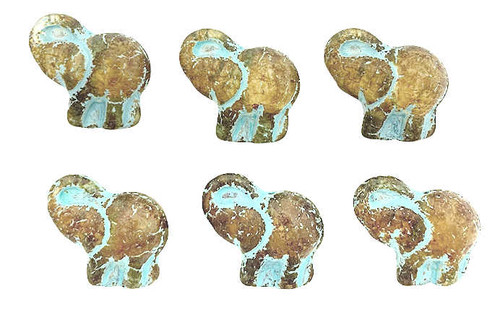 Elephant Beads, Transparent w/ Picasso Finish & Turquoise Wash, 20x23mm (Qty: 6)