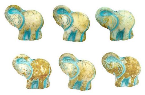 Elephant Beads, White w/ Honey Picasso Finish & Turquoise Wash, 20x23mm (Qty: 6)