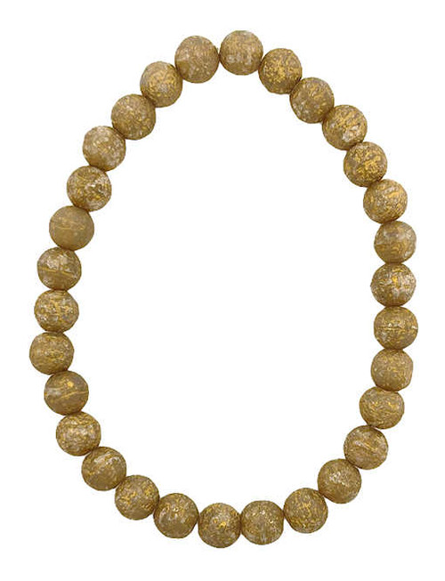 6mm Round Glass Beads, Champagne w/ Gold Wash and Etched Finish (Qty: 30)