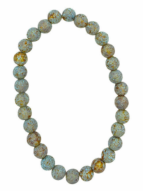 6mm Round Glass Beads, Amber w/ Picasso & Turquoise Wash & Etched Finish (Qty: 30)