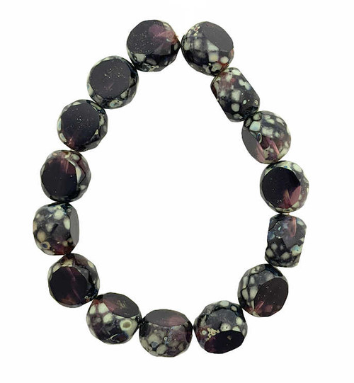 12mm Table Cut Fire Polish Beads, Purple Pansy w/ Picasso Finish (Qty: 15)