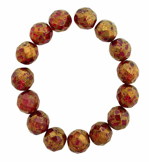 12mm Round Fire Polished Beads, Ruby Red w/ Gold Finish (Qty: 15)