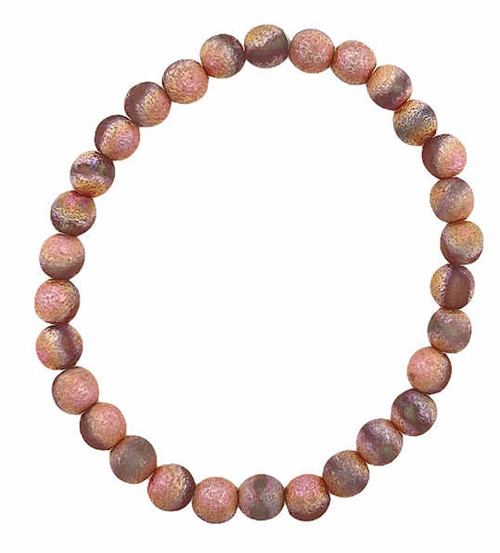 6mm Round Glass Beads, Grey w/ a Copper and Etched Finish (Qty: 30)