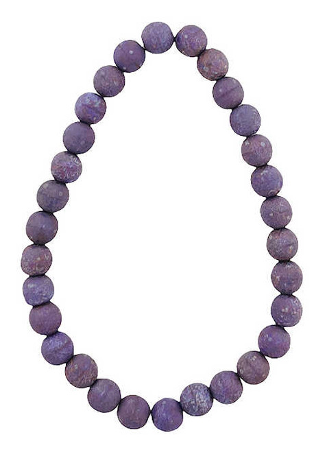 6mm Round Glass Beads, Opaque Purple w/ an Etched and Mercury Finish (Qty: 30)