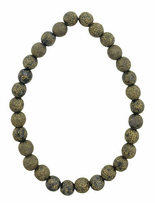 6mm Round Glass Beads (Druk), Black w/ an Etched Finish & Gold Wash (Qty: 30)