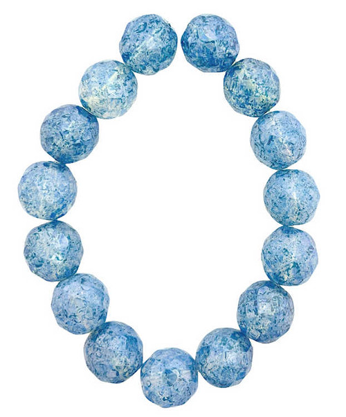 12mm Round Fire Polished Beads, Transparent w/ Pacific Blue Finish (Qty: 15)