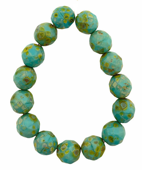 12mm Round Fire Polished Beads, Sea Green w/ Picasso Finish (Qty: 15)
