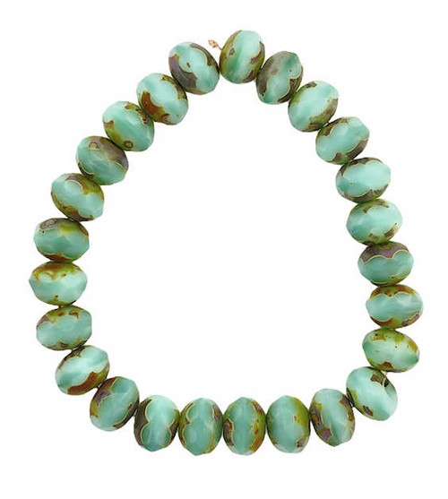 Faceted Rondelles, Sea Green w/ Picasso Finish, 6x8mm (Qty: 25)