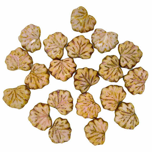 Maple Leaves, Medium Pink w/ Heavy Gold Finish, 10x13mm (Qty: 20)