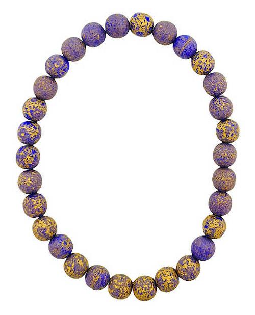 6mm Round Glass Beads (Druk), Indigo w/ an Etched Finish & Gold Wash (Qty: 30)